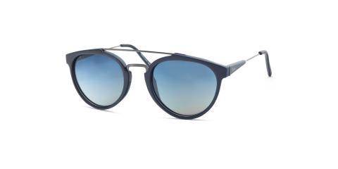 عینک آفتابی گرد زینیا سرمه ای با دسته های نقره ای - عکاسی توسط عینک وحدت - زاویه ی سه رخ از راست