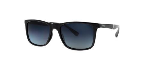 عینک آفتابی مستطیلی زینیا عدسی دودی با بدنه مشکی براق - عکاسی توسط عینک وحدت - زاویه ی راست به چپ
