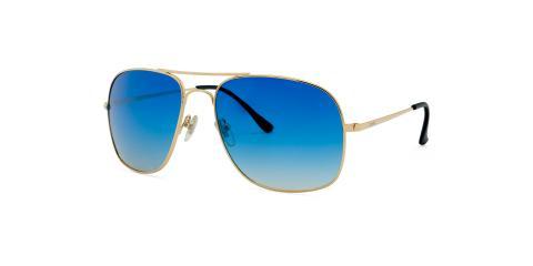 عینک آفتابی زینیا طرح ژنرال ریبن بدنه طلایی عدسی ها آبی طیف دار - عکاسی وحدت - زاویه سه رخ چپ