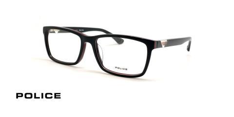 عینک طبی کائوچویی طوسی رنگ با خط قرمز پلیس - زاویه سه رخ