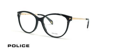 عینک طبی مشکی طلایی دسته فلزی بدنه کائوچو پلیس - عکاسی وحدت - زاویه سه رخ