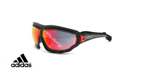 عینک آفتابی ورزشی adidas - مدل Tycane Pro Outdoor - رنگ مشکی - عدسی قرمز جیوه ای - عکاسی وحدت - زاویه سه رخ