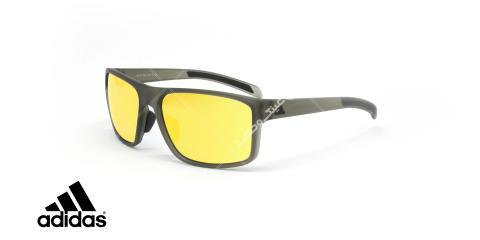 عینک آفتابی ورزشی آدیداس مدل whipstart - رنگ زرد مات با عدسی های طلایی جیوه ای - عکاسی وحدت - زاویه سه رخ