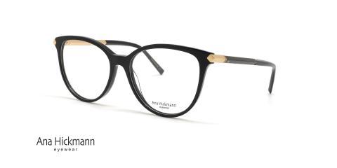 عینک طبی کائوچویی دسته دو رو مشکی رنگ آناهیکمن - عکاسی عینک وحدت - زاویه سه رخ