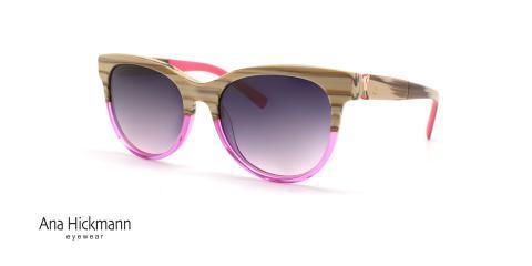 عینک افتابی کائوچویی صورتی کرم رنگ آنا هیکمن - عکاسی عینک وحدت - زاویه سه رخ