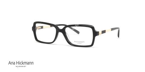 عینک طبی آنا هیکمن - مدل مستطیلی - رنگ مشکی - عکاسی وحدت - زاویه سه رخ