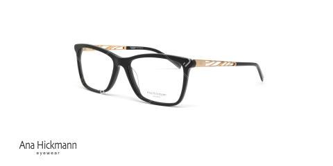 عینک طبی آنا هیکمن - بیضی شکل - رنگ ترکیبی مشکی طلایی - عکاسی وحدت - زاویه سه رخ