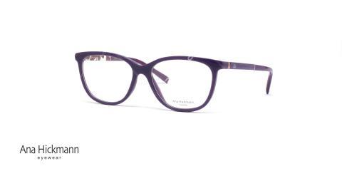 عینک طبی آنا هیکمن- رنگ بنفش - دسته طرح دار - عکاسی وحدت - زاویه سه رخ