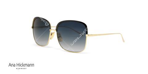 عینک آفتابی مربعی شکل آنا هیکمن - بدنه طلایی عدسی های آبی طیف دار - عکاسی وحدت زاویه سه رخ