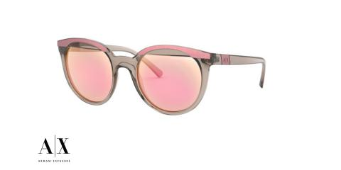 عینک آفتابی Armani Exchange - بدنه خاکستری شیشه ای - عدسی صورتی جیوه ای - زاویه سه رخ