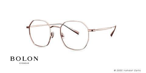 عینک طبی فلزی رز گلد بولون - چند ضلعی - زاویه سه رخ