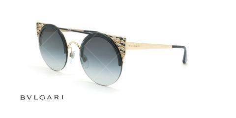 عینک آفتابی گربه ای بولگاری - Bvlgari BV6088 - مشکی طلایی - عکاسی وحدت - زاویه سه رخ