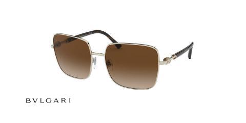 عینک آفتابی زنانه بولگاری مربعی عدسی قهوه ای فریم نقره ای -عکس از زاویه سه رخ