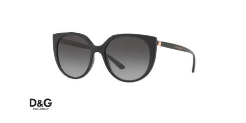 عینک آفتابی زنانه دولچه گابانا پروانه ای عدسی گرد،فریم مشکی و شیشه دودی طیف دار - عکس از زاویه سه رخ