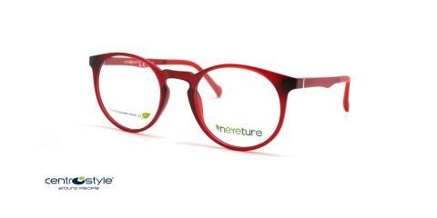 عینک طبی گرد کائوچویی رویه دار قرمز سنترواستایل - عکس از زاویه سه رخ