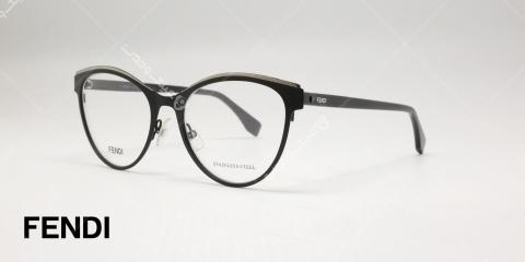 عینک طبی گربه ای فندی - بدنه فلزی مشکی - عکاسی وحدت - زاویه سه رخ