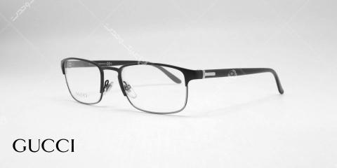 عینک طبی فلزی کائچویی گوچی - رنگ مشکی - عکاسی وحدت - زاویه سه رخ