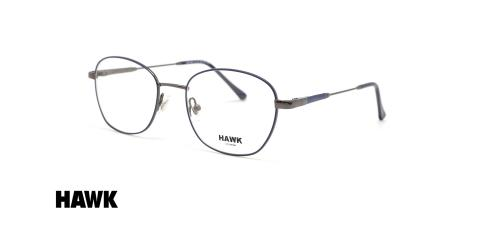 عینک طبی فلزی هاوک شبه مربعی مشکی - عکس از زاویه سه رخ