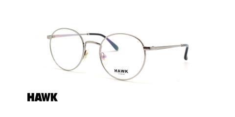 عینک طبی گرد فلزی هاوک فریم نقره ای - عکس از زاویه سه رخ