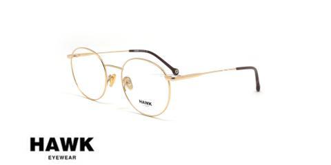 عینک طبی فلزی هاوک - HAWK HW7234 - رنگ طلایی - عکاسی وحدت - عکس از زاویه سه رخ