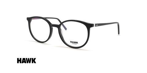 عینک طبی کائوچویی گرد هاوک فریم مشکی - عکس از زاویه سه رخ