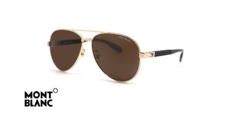 عینک آفتابی مون بلان طرح خلبانی دسته کائوچویی کربنی فلزی طلایی - زاویه سه رخ