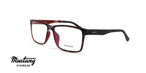 عینک طبی رویه دار موستانگ - MUSTANG MU6931- رنگ مشکی قرمز - عکاسی وحدت - عکس زاویه سه رخ
