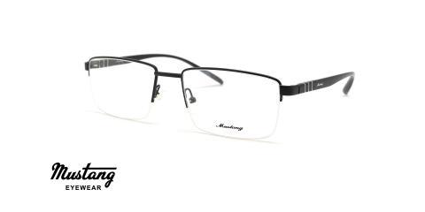 عینک طبی مستطیلی زیرگریف موستانگ فریم مشکی - عکس از زاویه سه رخ