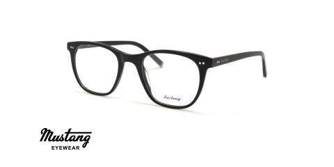 عینک طبی کائوچویی مربعی فریم مشکی - عکس از زاویه سه رخ
