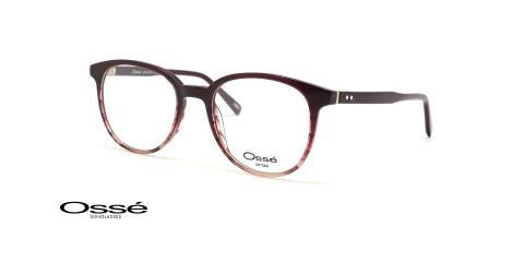 عینک طبی مربعی کائوچویی اوسه فریم بنفش هاوانا - عکس از زاویه سه رخ