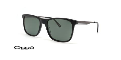 عینک آفتابی کائوچویی فلزی مربعی اوسه فریم مشکی و عدسی دودی - عکس از زاویه سه رخ