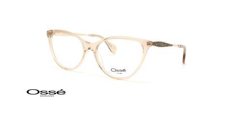 عینک طبی کائوچویی گربه ای زنانه اوسه فریم صورتی روی دسته ها طرح دارد- عکس از زاویه سه رخ