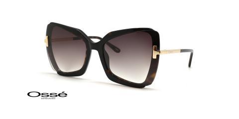 عینک آفتابی زنانه پروانه ای فریم کائوچویی قهوه ای هاوانا و عدسی قهوه ای هاوانا - عکس از زاویه سه رخ