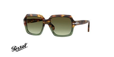 عینک آفتابی کائوچویی پرسول مربعی فریم قهوه ای هاوانا،سبز شیشه ای و عدسی سبز - عکس از زاویه سه رخ
