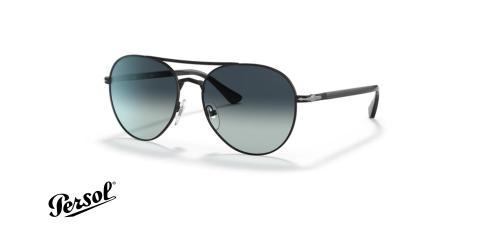 عینک آفتابی پرسول مدل خلبانی دو پل فریم مشکی، عدسی دودی طیف دار- عکس از زاویه سه رخ