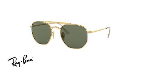 عینک آفتابی ری بن - چند ضلعی - مدل مارشال - دو پل - بدنه طلایی - شیشه سبز - زاویه سه رخ