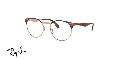 عینک طبی گرد ریبن اصل - بدنه قهوه ای هاوانا از جنس استیل - زاویه سه رخ
