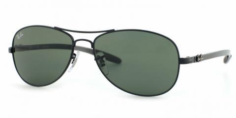 عینک آفتابی دسته کربنی ری بن - بالاترین کیفیت - دسته مشکی شیشه سبز