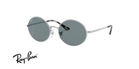 عینک آفتابی پلاریزه با شیپ بیضی و فریم نقره ای و عدسی دودی ریبن - عکس زاویه سه رخ