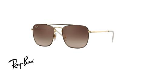 عینک آفتابی مربعی زاویه دار  ربین اصل - بدنه طلایی قهوه ای - عدسی قهوه ای - زاویه سه رخ
