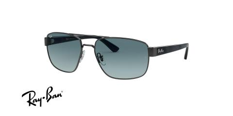 عینک آفتابی فلزی مشکی عدسی آبی مدل خلبانی ریبن - عکاسی وحدت - عکس از زاویه سه رخ
