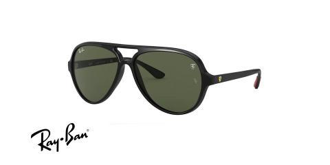 عینک آفتابی خلبانی ری بن مدل فراری فریم کائوچویی مشکی،عدسی سبز - عکس از زاویه سه رخ