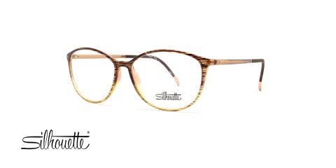 عینک طبی سیلوئت - مدل گربه ای رنگ بژ به سمت شیشه ای - عکاسی وحدت - زاویه سه رخ