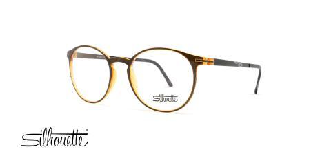 عینک طبی گرد سیلوت - بدنه قهوه ای نارنجی - عکاسی وحدت - زاویه سه رخ