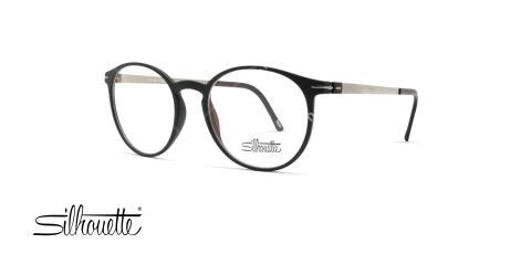 عینک طبی گرد سیلوئت - بدنه مشکی نقره ای - عکاسی وحدت - زاویه سه رخ