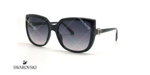 عینک آفتابی سواروفسکی گوشه دار - مشکی - عکاسی عینک وحدت - زاویه سه رخ