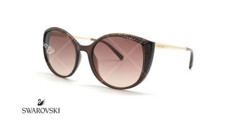 عینک آفتابی سواروفسکی نگین دار - قهوه ای - عکاسی عینک وحدت - زاویه سه رخ