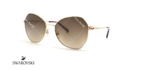 عینک آفتابی فلزی زاویه دار سواروفسکی - عکاسی عینک وحدت - زاویه سه رخ