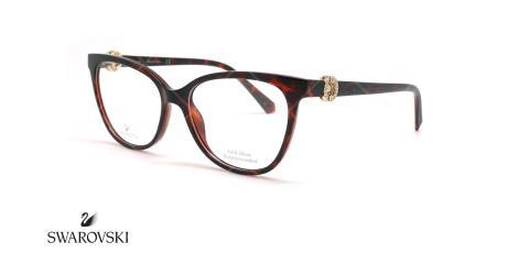 عینک طبی گربه ای سواروسکی - Swarovski SK5254  - قهوه ای هاوانا - عکاسی وحدت - زاویه سه رخ