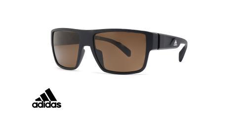 عینک آفتابی ورزشی فریم مشکی عدسی قهوه ای آدیداس - عکس از زاویه سه رخ